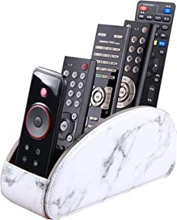 Remote Control Holder with 5 Compartments,PU Leather Remote Control Organizer Box for Tv,Media Player,Office Supplies(Marble)