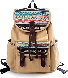 Lt Tribe Girls Casual Canvas Backpack Floral College Backpack Laptop Daypack Brown G00137