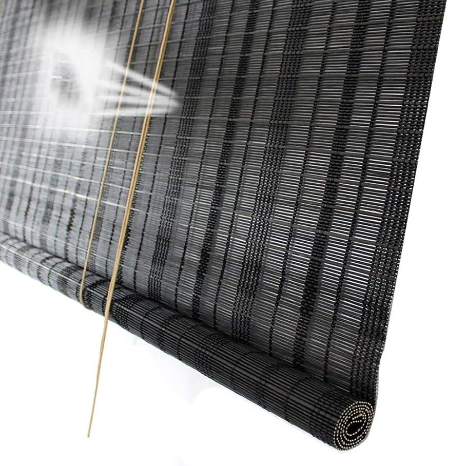 靄許されるどこでもロールスクリーン ブラックローラーシェード竹、ライトフィルタリングロールアップブラインド屋内バルコニー日焼け止めアンチUV、50%遮光 (サイズ さいず : W100cm×H120cm)