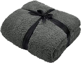 Catalonia Sherpa Throw Blanket,Fuzzy Snuggle Blanket for Camping Traveling Couch Bed,Super Soft,Light Weight,Reversible,All Season Use,50x60 inches,Grey