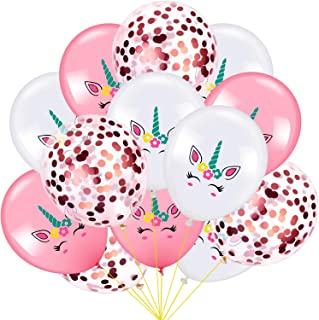 60 Pieces Unicorn Balloons Set Unicorn Birthday Party Decoration Balloons and Rose Gold Confetti Balloons for Party Wedding Favors