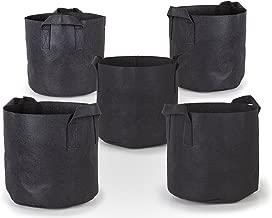 247Garden 5-Pack 5 Gallon Grow Bags/Aeration Fabric Pots w/Handles (Black)