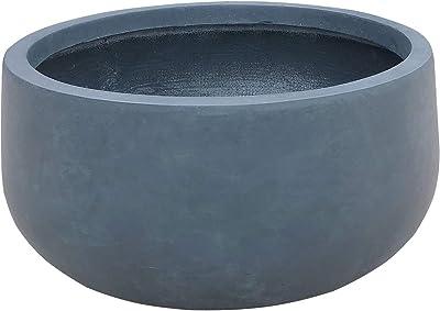 Kante RC0051B-C60121 Lightweight Concrete Outdoor Round Bowl Planter, Charcoal