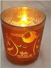 Gerson International Halloween Flameless LED Glass Pillar Candle Four Pumpkin and Moon Design