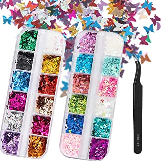 3D Butterfly Nail Art Sequins Glitter Kit, 24 Colors Holographic Sparkle Nail Glitter Flakes Paillettes, Iridescent Mermai...