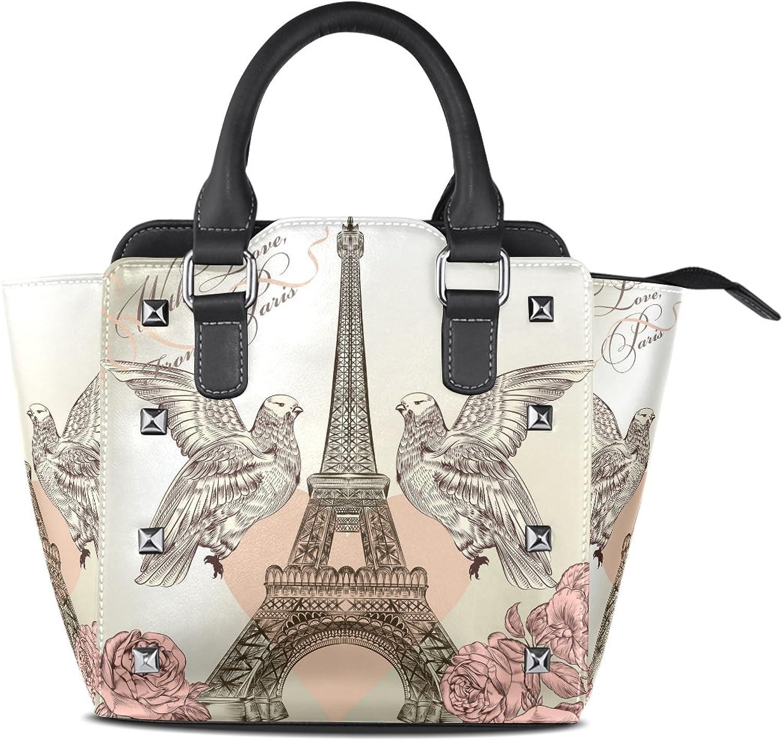 Sunlome Valentine Paris Eiffel Tower pink Birds Print Handbags Women's PU Leather Top-Handle Shoulder Bags