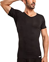 Ejis Men's Sweat Proof Undershirt, V Neck, Anti-Odor Silver, Micro Modal, Sweat Pads