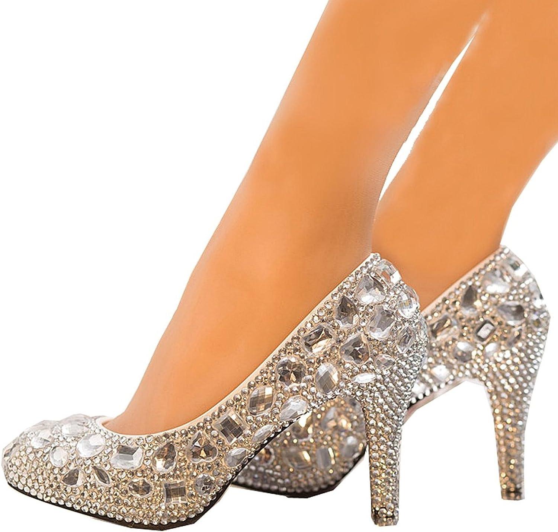 Pilusooou Elegant Women's Diamonds Silver High Heel Wedding shoes