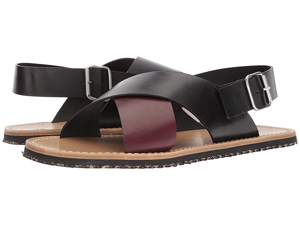 MARNI Crossover Sandal (Black/Burgundy) Men