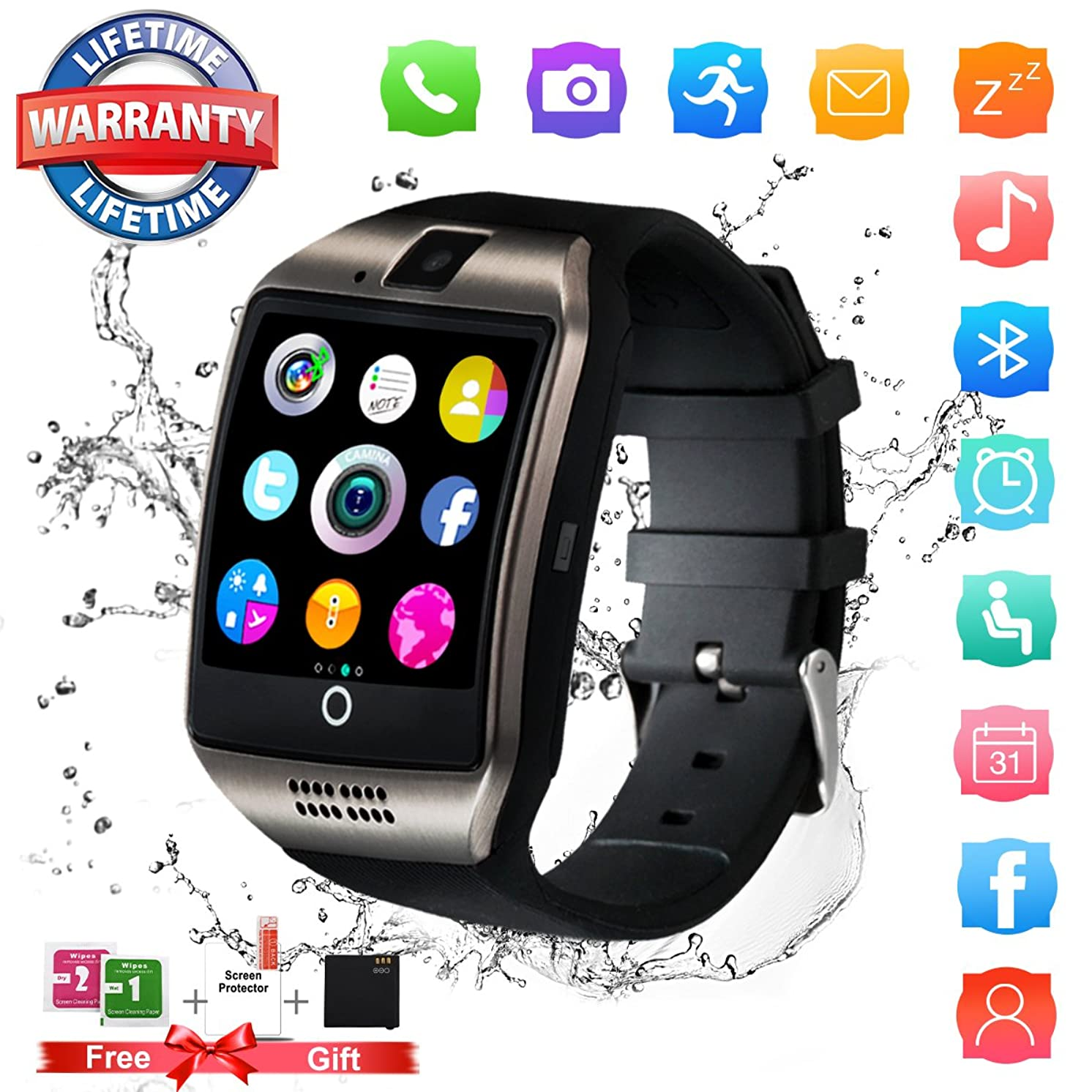 Smart Watch,Bluetooth Smartwatch Touch Screen Wrist Watch with Camera/SIM Card Slot,Waterproof Smart Watch Sports Fitness Tracker Compatible with Android Phones XS XR 8 7 Plus Samsung Huawei Black