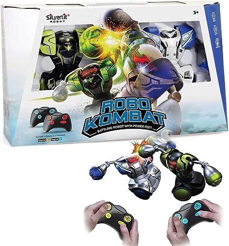 Silverlit Ycoo Pack 2 Robot Kombat Boxeur Télécommandé 14 cm Vert et Blanc-Il Avance Et Frappe Son Adversaire-Jouet a...