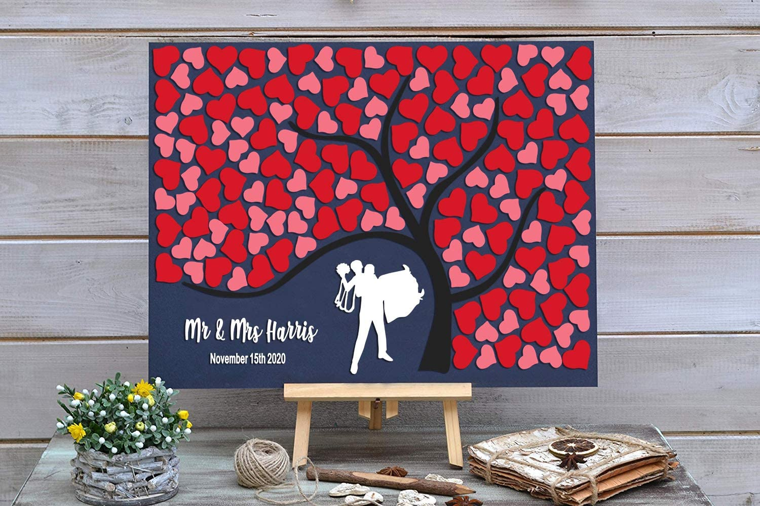 High material PotteLove Personalized Rustic Indianapolis Mall Wooden Wedding Red Book with Guest