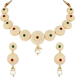 Asmitta traditional wear designer choker style gold plated brass nacklace set for women