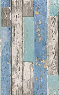 Blue Distressed Wood Wallpaper Stick and Peel Wallpaper 17.71In X 118In Self Adhesive Wood Plank Wallpaper for Furniture B...
