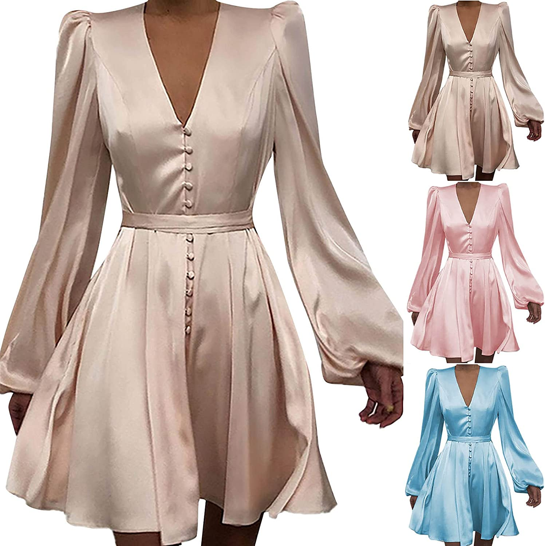 Womens Dresses Trendy Satin V Neck Cocktail Dress Slim Button Sundress Lace Up Party Gowns Lantern Sleeve Midi Dress