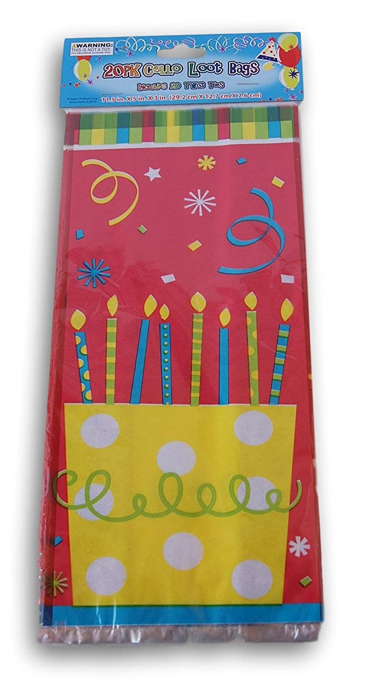 Birthday Cake Treat Bags with Twist Ties - 20 count