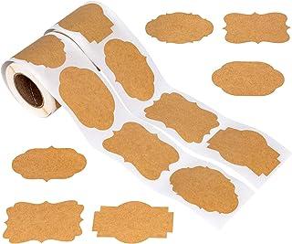 IDEALEBEN 600 St/ück Selbstklebend Kraftpapier Sticker Etiketten Sticker Kraftpapier Aufkleber f/ür Verpackung,Gew/ürzdosen Glasflaschen Aufbewahrungsdosen