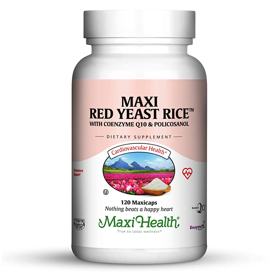 Maxi Health Red Yeast Rice - with Co Q10 & Policosanol - Cholesterol Support - 120 Capsules - Kosher