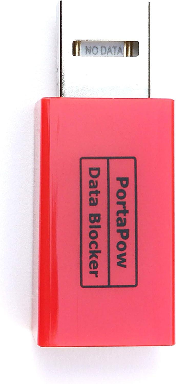 PortaPow USB Data Blocker (Red) - Protect Against Juice Jacking