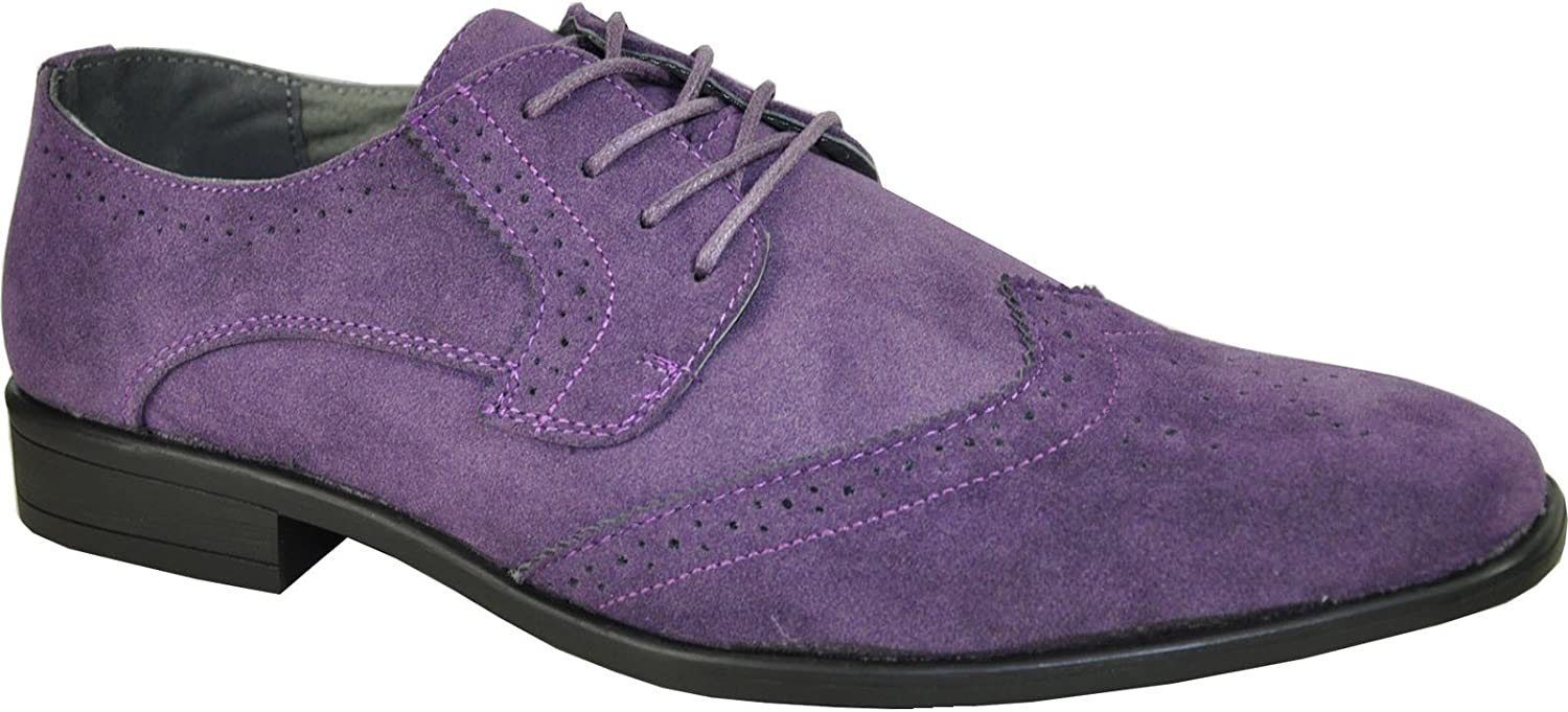BRAVO Men Dress Shoe KING-3 Classic Faux Suede Oxford with Leather