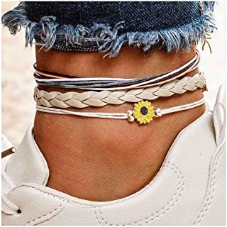 Rope Anklet Sunflower Anklets Bracelet Layered Foot Chain Charm Beach Jewelry Chic Ankle Bracelet for Women Girls Teens