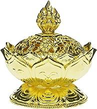 Saim Lotus Flower Chinese Buddha Alloy Metal Incense Burner Incense Holder Handmade Censer Bowl Buddhist Decor, Home Decor...