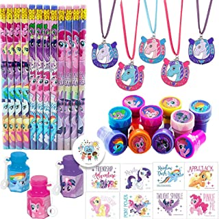 My Little Pony Friendship Adventures Birthday Party Favor Pack For 12 Perfect For Goodie Bag Fillers With 12 My Little Pony Pencils, Stampers, Tattoos, Mini Bubbles, Horse Necklaces, and Exclusive Pin