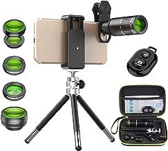 Apexel Camera Phone Lens Kit -Remote Shutter+ Phone Tripod+ 6 in 1 Phone Lens -Metal 16X Telephoto Zoom Lens/Wide Angle/Macro/Fisheye/Kaleidoscope/CPL for iPhone 11 XS X 8 7 Plus Samsung OnePlus Phone