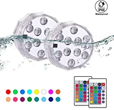 BONBON Submersible LED Lights with Remote, Waterproof Underwater Lights 16 Color Changing Decoration Light for Christmas,Halloween,Aquarium, Hot Tub, Pool, Vase, Garden, Fish Tank,Beach, Party -2 Pack