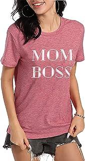 تي شيرت نسائي مطبوع عليه Wife mom Boss Shirt Women Cute Mom Life تي شيرت مرح قصير الأكمام بسيط وعصري حريمي