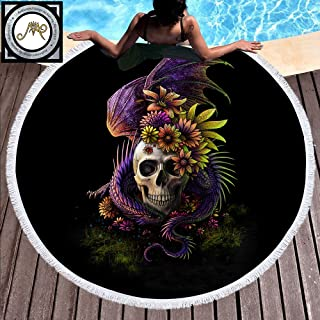 Sleepwish Flowery Skull by Sunima Skull Floral Beach Towels Boy Round Beach Towel Black Tribal Skull
