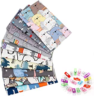 10Pcs Quilting Fabric for Sewing Crafting Fat Quarters Fabric Bundles for Patchwork DIY Sewing Cotton Fabric Printed Flora...