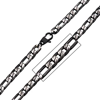 Men's Denim Fade Stainless Steel Black Plated Diamond Cut Figaro 6.5mm Chain Necklace. 22 inch Long