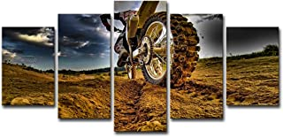 Framed Canvas Wall Art Dirt Bike Motocross Extreme Sports Pictures Ready to Hang 5 Panels HD Printed Posters Artwork for Kids Teens Bedroom Living Room Modern Decorations