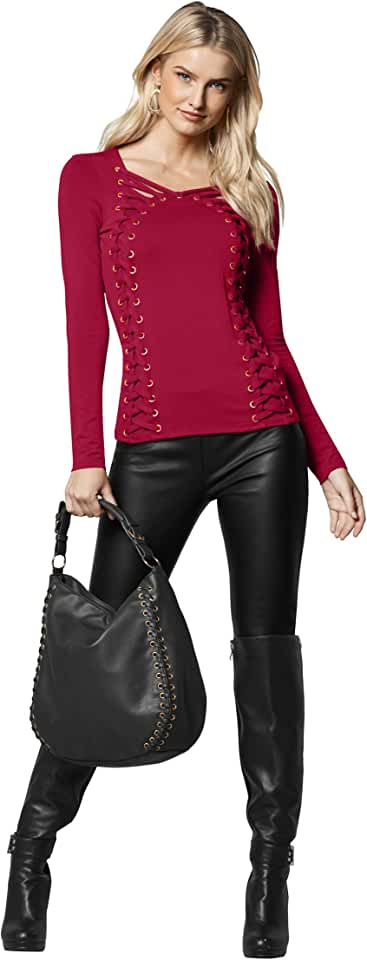 Venus Women's Side Lace Up Top Scoop Neck Long Sleeves Gold Grommet Detailed Front