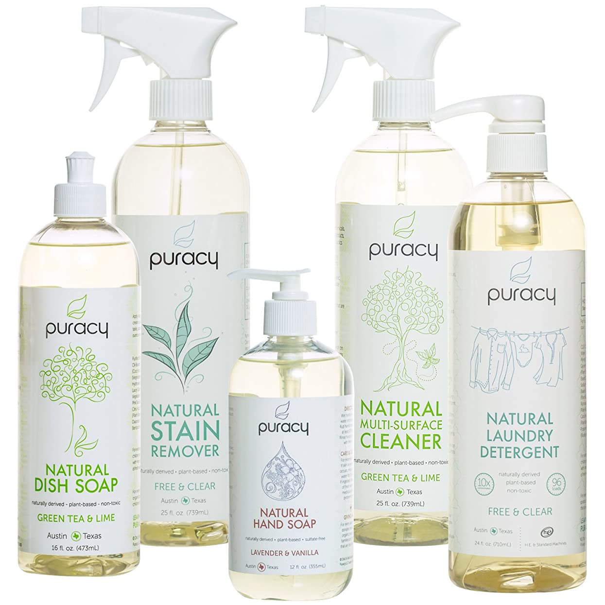 切り下げ補正本当のことを言うとPuracy Natural Home Cleaning Essentials Set - Hand Soap, Dish Soap, Laundry Detergent, Multi-Surface Cleaner, Laundry Stain Remover Bundle - Pack of 5 by Puracy
