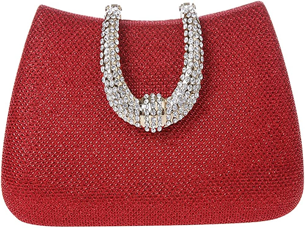 ELEOPTION Women's Bling Glitter Purse Clutch Bag Hard Case with Full Rhinestones for Cocktail Party Wedding