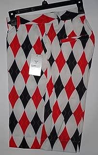 Shorts Argyle Red/Black 95% Poly 5% Spandex Adult