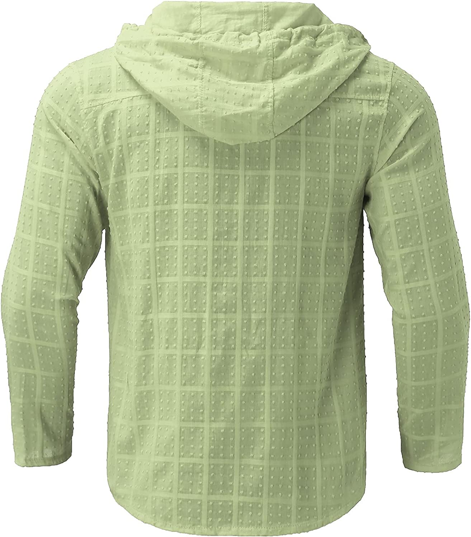 XXBR Zipper Hooded Shirts for Mens, Fall Drawstring Slim Fit Casual Tops Hoodies Checked Dot Lightweight Zip Cardigan
