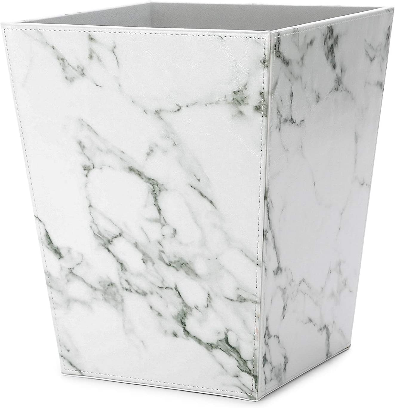online shopping WV Faux Leather Trash Can Marble Pattern free Wastebasket White