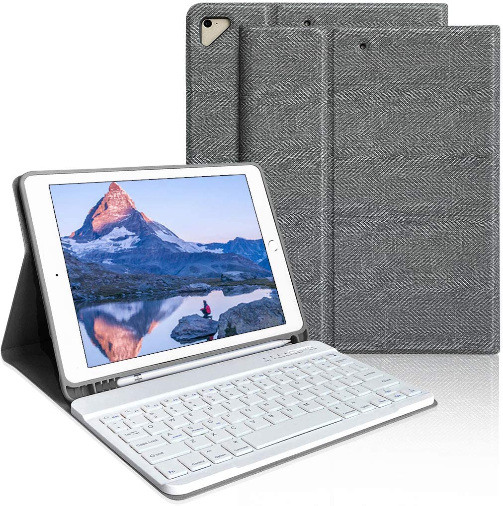 iPad Keyboard Case 9.7 for iPad 6th Generation(2018), iPad 5th Generation(2017), iPad Air 2, iPad Air, iPad Pro 9.7 inch Keyboard Case (Gray)