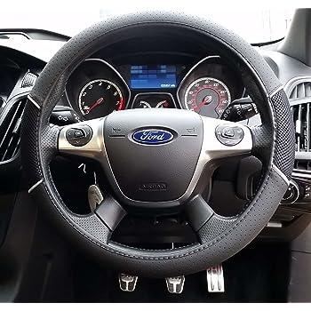 2PCS Universal Car Steering Wheel Cover Leather Anti Slip Protector for Automotive Interior 37-38cm black /& dark blue BESLIME Steering Wheel Covers
