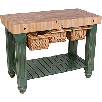 Amazon Com John Boos American Heritage Kitchen Island With Butcher Block Top Base Finish Useful Gray Home Kitchen