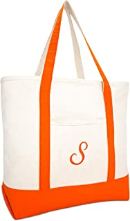 DALIX Personalized Shopping Tote Bag Monogram Orange Initial Zippered Letter A-Z