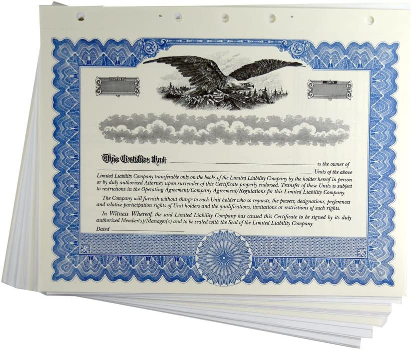 Blank Blue Ownership Certificates with Li LLC Ranking TOP15 Max 80% OFF Limited Stubs for