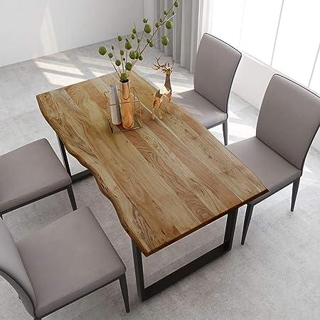 Tidyard Table de Salle à Manger Rectangulaire, Table de Repas Meuble à Manger, Table Console Extensible 160x80x76 cm Bois d'acacia Solide