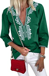 Women V Neck Long Sleeves Summer Embroidered Casual Shirt and Blouses (S-XXL)