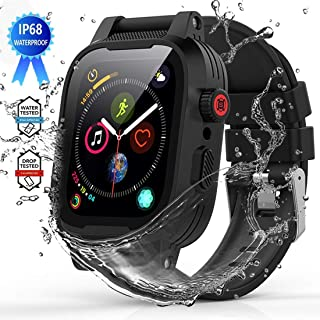 YOGRE Waterproof Case for Series 5/4 44mm, Full Sealed Protective iWatch Case with Built-in Screen Protector, IP68 Waterproof Shockproof Impact Resistant Apple Watch Case with 2 Soft Watch Band, Black