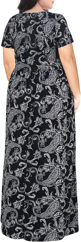 Nemidor Women's Short Sleeve Floral Print Plus Size Casual Party Maxi Dress