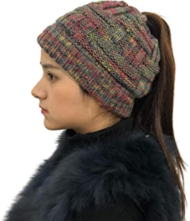 Bun Beaines for Women Soft Stretch Cable Knit Messy High Bun Ponytail Beanie Hat
